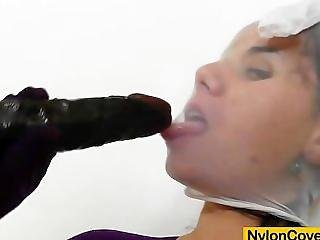 Riding A Rubber Cock In Nylons
