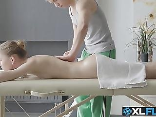 Sweet Blonde Babe Comes For A Massage And Gets Pummeled Hard