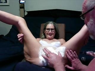 Hot Milf Gets Her Pussy Shaved, Licked And A Big Buttplug Inserted Mature