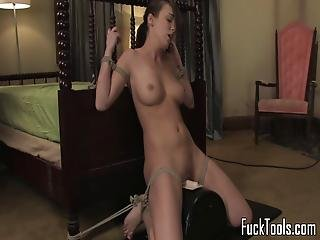 Pussy Toying Amateur Restrained To Sybian
