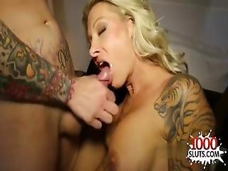 Tattoo Pornstar Threesome With Cum In Mouth