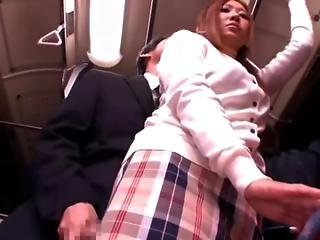Shy Schoolgirl Groped And Used In A Bus