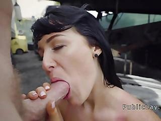 Brunette Fucks Big Dick In Truck Park
