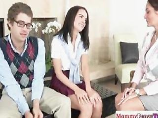 Naughty Bigtitted Teacher Fucks Young Couple