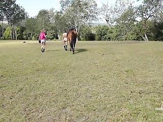 Angela-nude Horse Riding