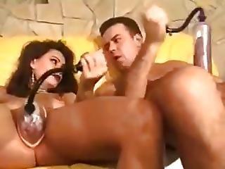 amatør, store bryster, bryst, brunette, par, sædshot, pumped, vakuum