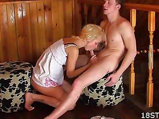On Black - White Ottoman Licks Pussy Blonde