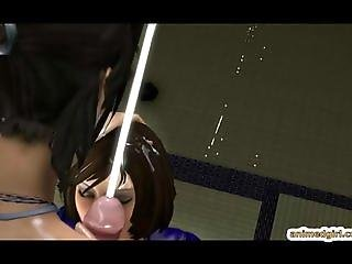 3D shemale anime Lara Croft sucking bigcock a