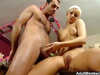 Teasing Bitch Gives Him A Good Handjob