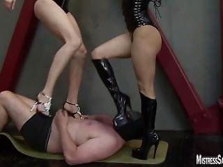 Two Mistresses Inflict Cbt And Trample Before Milking Balls
