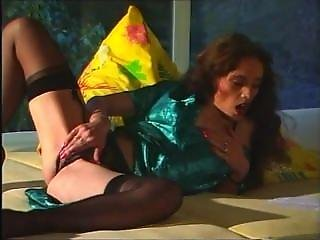 Retro Classic - Crotchless Panties & Green Satin Robe Action