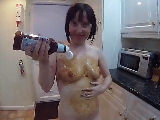 Skinny Uk Wife Gets Messy In Brown Sauce