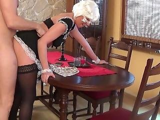 Sexy Teen Maid Doing Blowjow And Gets Creampies On The Table
