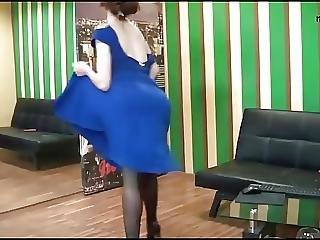 Housewife Dancing In Blue Long Sexy Dress