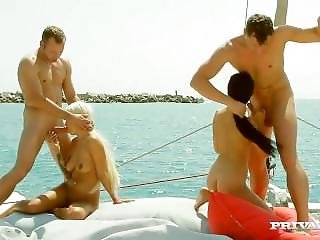 Julie Hunter And Lullu Gun Fucked On A Yacht