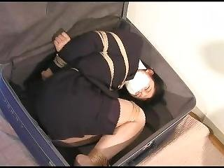 Japanese Ol Bound, Gagged, Hogtied And Stuffed In A Suitcase