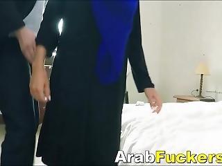 Nervous Arabian Refugee Takes Cash For Slurping On Huge Dick