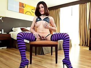 Beautiful Tranny Babe Asian Beth Enjoys Solo Masturbating In The Bedroom
