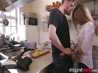 Elegant Euro Babe Assfucked During Wild Ffm Threesome! These Two Hotties Often Go Naughty In The Kitchen!