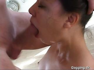 Danish Brunette Blowjob - Sloppy Deepthroat
