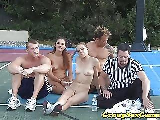 素人, ゲーム, グループセックス, パーティー, スポーツ, 吸う