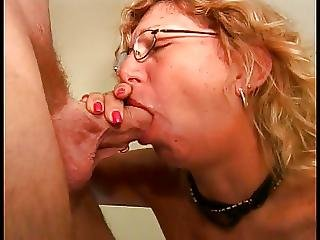 Blonde, Blowjob, Facial, Glasses, Mature, Milf, Old, Slut