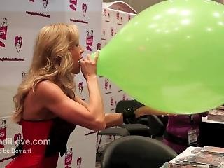 Brandi Love Blows Up Balloon Till It Pops