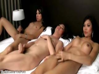 Ladyboys Play With Their Dicks In Threesome Until They Come