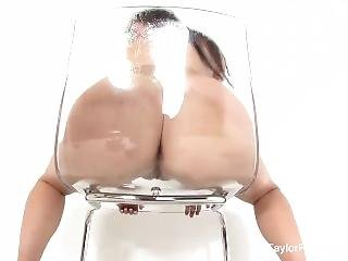 Naturally Stacked Taylor Vixen Masturbates In A See Through Chair