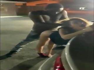 Amateur Interracial - White Teen Gets Fucked In Parking Lot