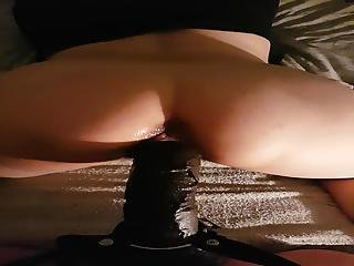 She Spreads Her Pussy Putting On All Her 10 Inch Huge Dildo