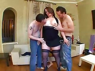 Chubby French Brunette Gets Taken By Three Guys
