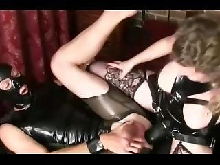Femdom Latex Mature Milf Mistress Fucks Big Huge Strapon Anal Slave