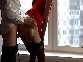 Slut Wife In Red Dress And Stockings Cheating With Best Friend Before Party