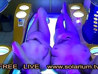 Two Hot Girls Filmed With Hidden Camera In Public Solarium