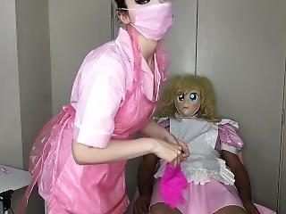 Masked Nurse Gives Shave