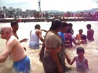 Group Bathing In River