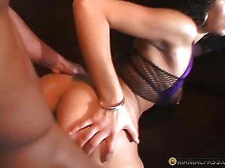 Curly Bitch Fucks Guy On The Couch