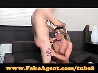 Fakeagent Blonde Swallows Mouthful Of Spunk