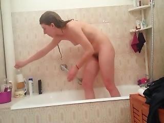 amatoriale, bambola, bionda, francese, doccia, tette piccole, da sola, spia, Adolescente, webcam