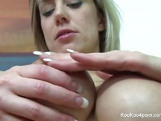 Blonde Jenny Rubs Lotion All Over Her Sexy Big Tits