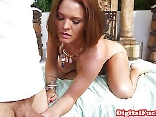 Busty Redhead Babe Facialized By Masseur