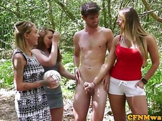 British Cfnm Babes Wanking Cock Outdoors