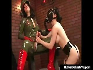 Military Babe Rubberdoll Slaps Ruby Luster With Riding Crop