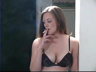 Woman Smoking In Bra