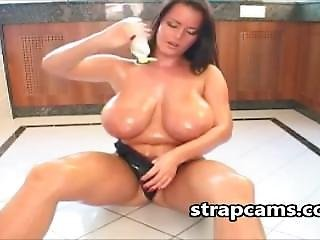 Oiled Her Big Tits And Sexy Body