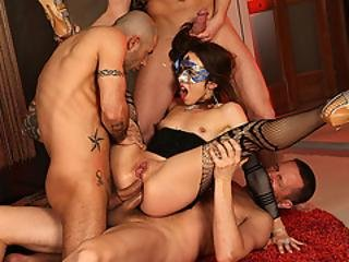 Horny Slut Throats And Double Analed Reamed By 3 Big Cocks