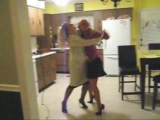 Classic Leg Locked Entwined Catfights In Nylons, Heels, Skirts And Dresses