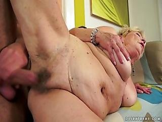Granny S Hair Pussy Covered With Cum