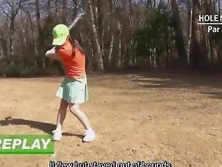 Subtitled Uncensored Japanese Golf Handjob Blowjob Game